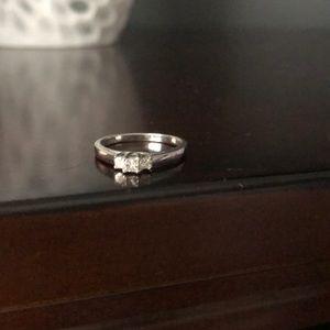 Three Stone Diamond White Gold Ring